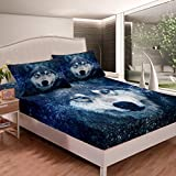 Castle Fairy Cool 3D Wolf Head Printed Deep Pocket Fitted Sheet Sheet Twin Green Eyes Wild Wolf Kids Duvet Sheet Wild Animal Theme Vivid Pattern 2 PCS Bed Sheet Sets(1 Fitted Sheet 1 Pillow case)