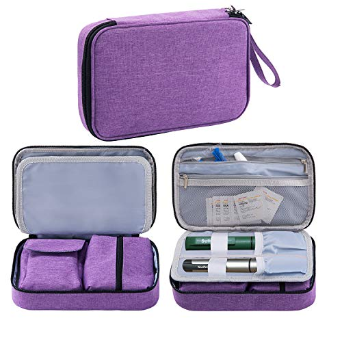 OSPUORT Diabetic Supplies and Insulin Travel Storage Case for Glucose Meter All Diabetic Supplies Carrying Bag Holds Insulin Pens, Vials, Blood Sugar Test Strips, Medicine (Purple)