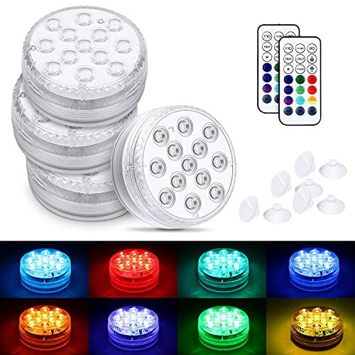 Magicfun Piscina Luz LED Impermeables, 4 PCS de Luces Sumergibles con RGB multicolor, Luces de Estanque con 13 Cuentas de Luz LED, IP68 a Prueba de Agua para Piscina, Pecera, Spa, Decoración del Hogar