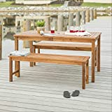 Walker Edison Dominica Contemporary 3 Piece Slatted Acacia Wood Outdoor Dining Table and Bench Set, Set of 3, Brown