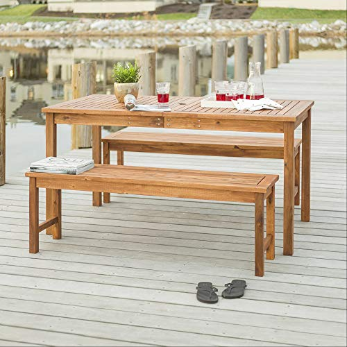 Walker Edison Dominica Contemporary 3 Piece Slatted Acacia Wood Outdoor Dining Table and Bench Set,...