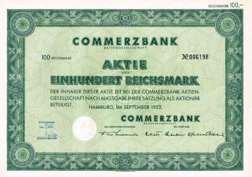 Commerzbank AG, 100 RM, September 1952