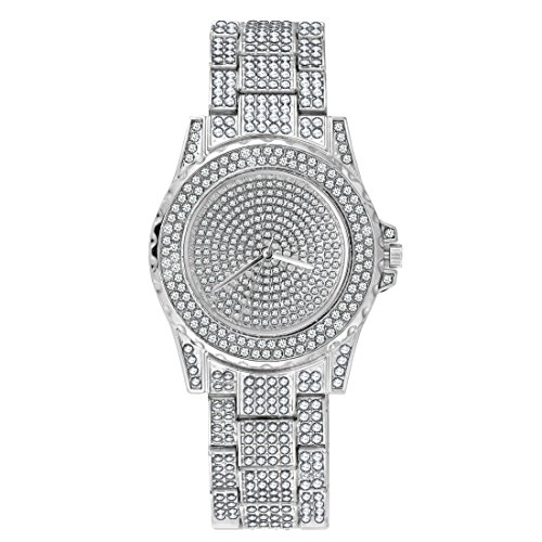SINOBJ Men Quartz Watch Diamond Quartz Stainless-Steel Bling Classic Geneva Hip Hop Women Luxury Watches Gift