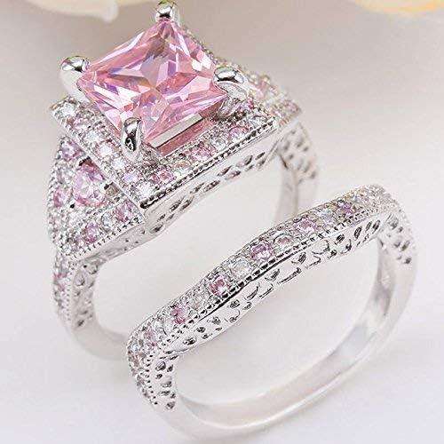 Duan Dazzling 925 Silver White Topaz Princess Cut Pink Sapphire Topaz Women Wedding Ring Set product image