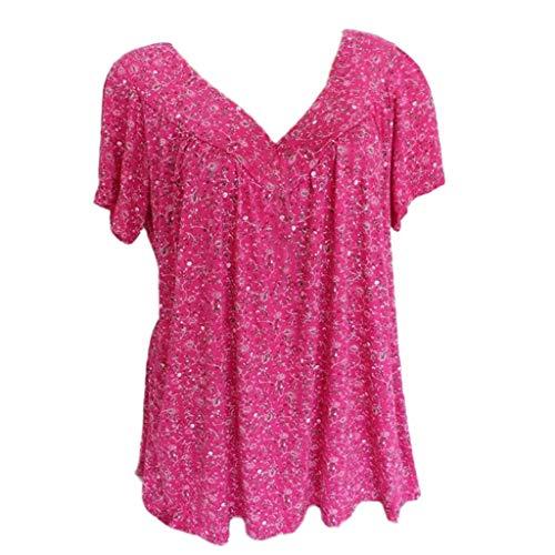 LOPILY Kurze Bluse Shirt Tops Damen Sommer Lose Blumendruck Kurzarmshirt Tunika Bluse Tee Mode Casual Übergröße V-Ausschnitt Blumenmuster Drucken Bluse Pullover T-Shirt(Hot pink,4XL)