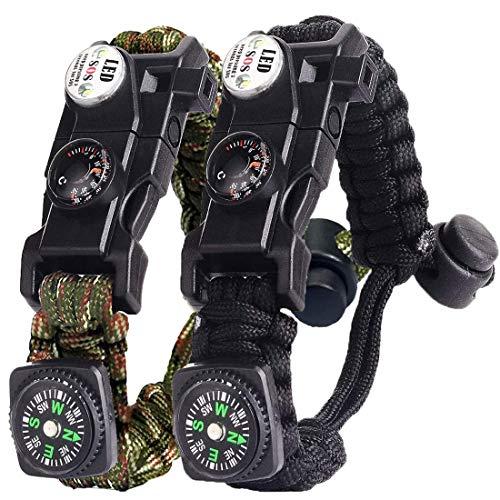 Bracelet Paracorde Survie pour Homme Femme, Militaire Paracord Bracelet Kit avec Flint + Boussole + Thermomètre + Sifflet + Lumière LED pour Extérieur, Randonneur, Baroudeur, Explorateurs