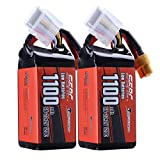 SUNPADOW 2 Pack 6S 22.2V Lipo batería 1100mAh 120C Soft Pack con conector XT60 para RC FPV Helicopter Airplane Drone Quadcopter Racing Hobby