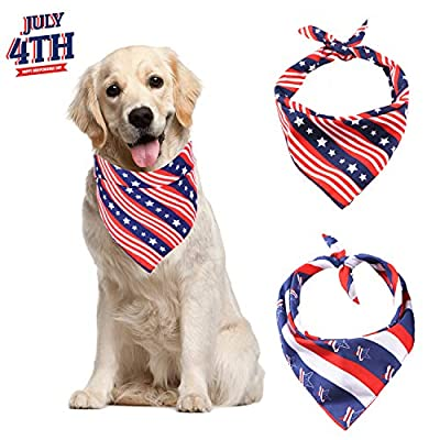 ADOGGYGO American Flag Dog Bandana 4th of July Dog Bandana for Small Medium Large Dogs Cats Pets 2 Pack (Red Twill)