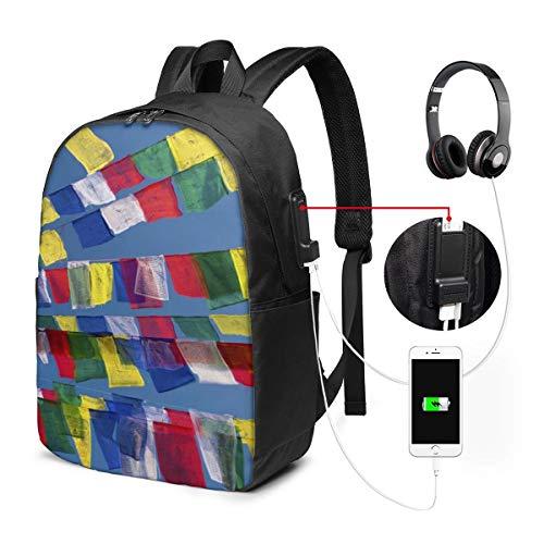 Laptop-Rucksack für Männer und Frauen, passend für 43,2 cm (17 Zoll), USB, wasserabweisend, lässiger Tagesrucksack für Arbeit, Reisen, Schule, Uni, Geschäftsreisen, Pendeln, Nepal, Gebet, Kathmandu