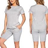 XUNN Conjunto de 2 piezas de camiseta y pantalones cortos para mujer gris XXL