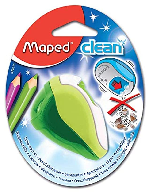Maped Clean Pencil Sharpener with Reserve, Clean System That Doesn't Dirty Pencil Case - 2 Hole Pencil Sharpener, Green