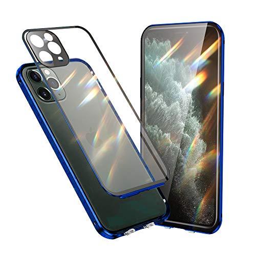 Jonwelsy Funda Compatible con iPhone 11 Pro (5,8'), 360 Grados Delantera y Trasera Vidrio Templado Case con Protección Lentes Cámara, Metal Bumper a Prueba de choques Carcasa (Azul)