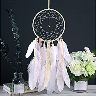 Hoocozi Handmade Feather Dream Catcher, Decorative Knitted Round Dreamcatcher with Feather Tassel for Good Lucky and Sweet Dreams from, 1Pce, Pink, Size 6.3