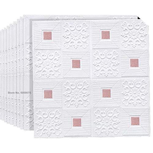 3D Backstein Decke Wandaufkleber Dach Decken Dekoration Aufkleber Für Küche Wohnzimmer Schlafzimmer Hintergrund Wohnkultur (Color : White pink, Size : 10pcs70X70X0.3cm)
