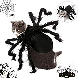 TaimeiMao Halloween Disfraz para Gatos Perros,Disfraz de araña para Halloween,Disfraz de araña para Perro,Disfraz de Cosplay para Gato y Perro,Disfraz de Halloween (Negro)