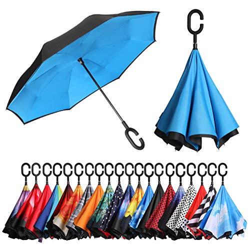 Eono by Amazon - Inverted Stockschirme, Winddicht Regenschirm, Reverse Stockschirme mit C Griff, Selbst Stehend, Double Layer, Schützen vor Sturm Wind, Regen und UV-Strahlung, Blau