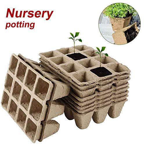 HONUTIGE - Set di 8 vassoi per semi, 96 cellule biodegradabili per torba, piantine e germinazione, set di vassoi per semi, per fiori di verdure – con 6 etichette per piante e 2 pezzi