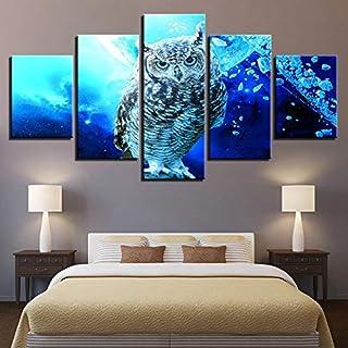 WMWSH 5 Piezas sobre Lienzo Imagen Búho Azul Wall Art De La Lona Arte De La Pared para Colgar Cuadros sobre El Lienzo Dormitorio Sala Comedor,150x80CM Moderna Decoración Pintura