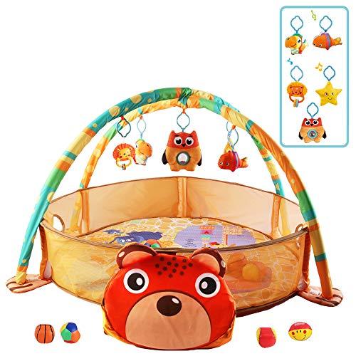 deAO Box per Bambini Parco Giochi Felice Centro di Attività per Bambini Include Custodia, Sonagli, Accesori e 4 Palline di Materiale Morbido (Orso)