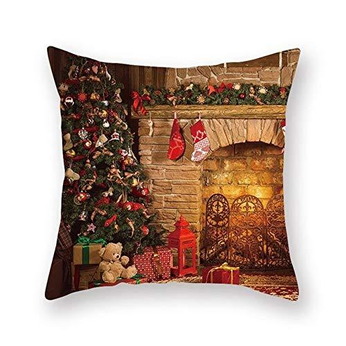 Cushion Covers Decorative Throw Pillow Cover Christmas Tree Fire Square Velvet Soft Throw Pillow Case Sofa Car Pillowcase for Living Room Couch Bedroom Pillowcases Decor Pillowcase+core,45x45cm T7909