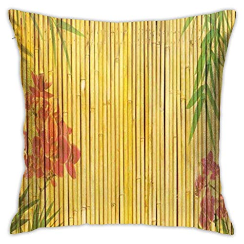 87569dwdsdwd Lotus Bamboo Background Square Pillow Case Home Sofa Decorative 18' X 18'Inch Ultra Soft Comfortable