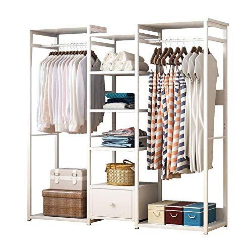 COLiJOL Perchero de pie de alto rendimiento para ropa, zapatos, sombreros, bolsos, cajas, gran capacidad de carga, color blanco, 118 × 30 × 140 cm
