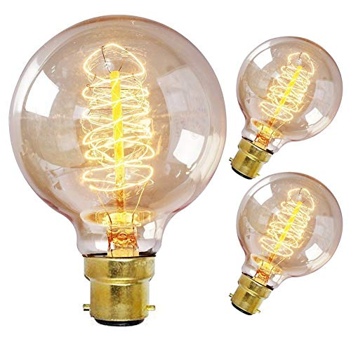 ONEPRE Pack of 3 Vintage Edison Light Bulb BC B22 Bayonet 60W Dimmable...