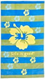 Life is Good Hibiscus Beach Blanket, Ocean Blue, One Size