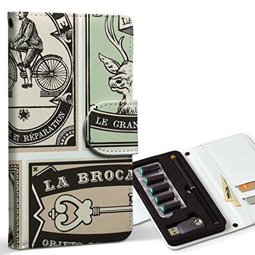 スマコレ ploom TECH プルームテック 専用 レザーケース 手帳型 タバコ ケース カバー 合皮 ケース カバー 収納 プルームケース デザイン 革 外国 英語 アンティーク 009608