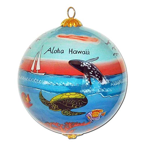 Collectible Hawaii Christmas Ornament - Handpainted Dolphins Sea Turtles Whale Sunset DT/H