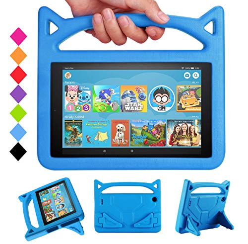 Mr.Spades All-New HD 10 Kids Tablet Kids Case (9th/7th Generation,2019/2017 Release) - Lightweight Case with Handle Stand for HD 10.1 Inch Tablet, NOT for 2021 Released 11th Generation - Blue