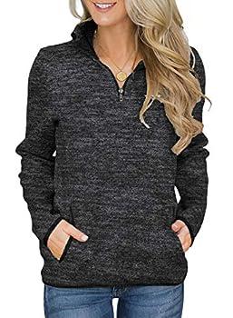 Aleumdr Women Knit Sweater Pullovers Casual Winter Long Sleeve 1/4 Zipper Sweatshirt with Pockets Black Small 4 6