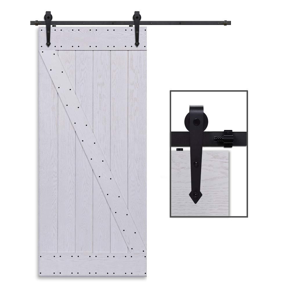CCJH 10.5FT-320cm Herraje para Puerta Corredera Kit de Accesorios para Puertas Correderas Rueda Riel Juego para Una Puerta de Madera: Amazon.es: Bricolaje y herramientas