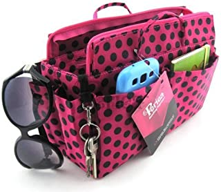 Periea Handbag Organiser, 14 Compartments, Pink with Black Polka Dots- Lexy
