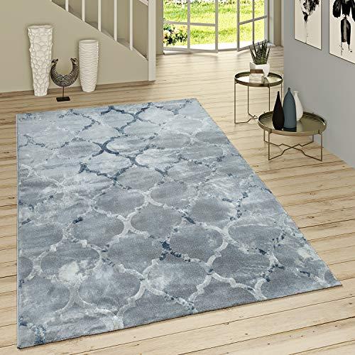 Paco Home Kurzflor Teppich Modern Marokkanisches Muster Vintage Style Ombre Look Grau Blau, Grösse:120x170 cm