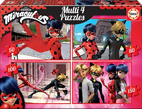 Educa - Multi 4 Puzzles Junior, puzzle infantil Ladybug de 50,80,100 y 150 piezas, a partir de 5 años (17466)