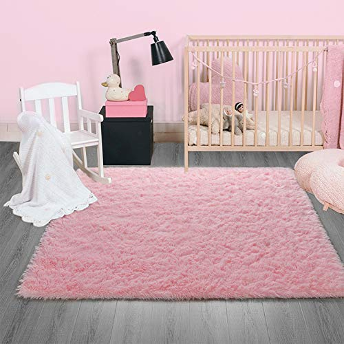 Ompaa Fluffy Rug, Super Soft Fuzzy Pink Area Rugs for Bedroom Girls Room Living Room - 3' x 5' Large Plush Furry Shag Rug - Kids Playroom Nursery Classroom Dining Room Decor Floor Carpet