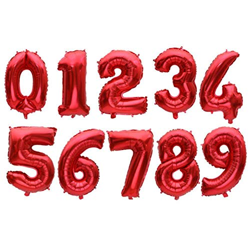 SELLA 32 Inch Big Foil Birthday Balloons Air Helium Number Balloon Figures Happy Birthday Party Decorations Kid Baloons Birthday Balon,R5-Red Balloon,Number 0
