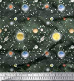 Soimoi Grun Kunstseide Stoff Planet & Sonne Galaxis Stoff
