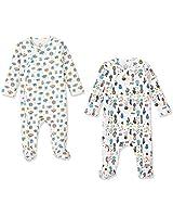 Zanie Kids Unisex Baby Long Sleeves Side Snap Footies Toddle Cotton Sleeper Pajamas, 2-Pack, Cactus & Animal, 0-3 Months