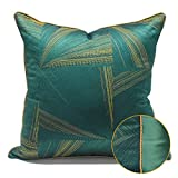 HOUMEL Cubiertas de cojín Decorativas de Oro y Verde Precision Jacquard Fundas de Almohada con Relleno para Sala de Estar sofá sofá 45 cm x 45 cm 18 x 18 Pulgadas 452 (Size : 45x45cm Cushion Cover)