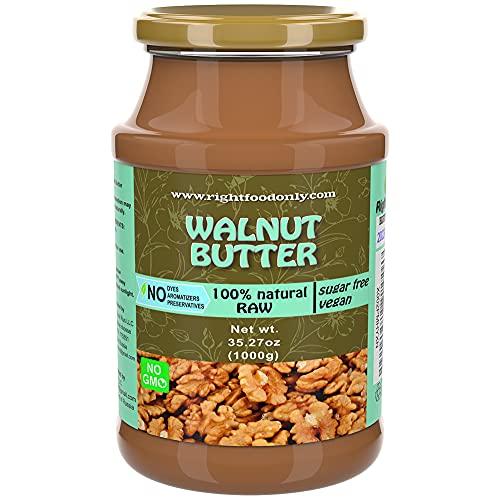 Mantequilla de Nueces sin Azúcar 1 kg   Orgánico   Vegano   Sin Gluten   Keto Bajo en Carbohidratos   Bajo Contenido de Azúcar   Propagación de Bocadillos Saludables por la Noche