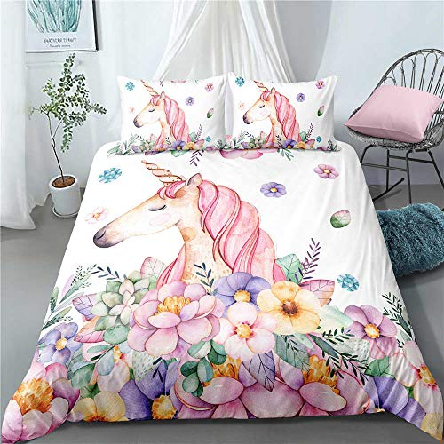 Evvaceo Children Bedding Set Boys/Girls 3D Printed, Cartoon Animal Unicorn 200 Cm X 200 Cm Quilt Duvet Cover Sets Kids With Pillow Case,Hidden Zipper,3D Printing Superfine Fiber 3-Piece S(Double)