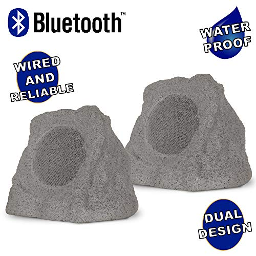 "Theater Solutions RK6GBT Powered Bluetooth Outdoor Granite Grey 6.5"" Rock Speaker Pair with Dual Connection Options"