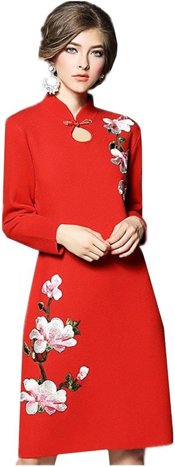 Fashion New Large Size Women Collar Embroidered Sweater Loose Long  sleeved Dress , red