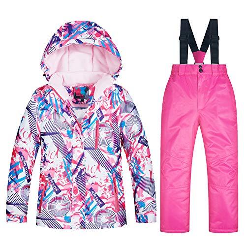 YFPICO Kinder-Skijacke und Hosen-Set,Kinder Skianzug Mädchen Integrierter Schneefang Fleece gefüttert,für Snowboarden im Winter, 5+Rosa, 98(Etikettengröße:8)
