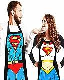 DX 2piezas Divertidos Delantales navideños de Cocina para Barbacoa Hombres Mujeres Trabajo Restaurante Regalo Divertido Cocineros Ocio DíA del Padre Navidad CumpleañOs Pareja Regalo Delantal Superman