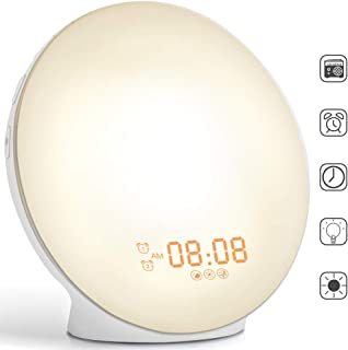 Wake-Up Light, HOKEKI Alarm Clock with 7 Colored Sunrise Simulation and Sunset Fading Night Light & Snooze Feature for Kids Heavy Sleepers, Dual Digital Clock with FM Radio and 7 Natural Sounds