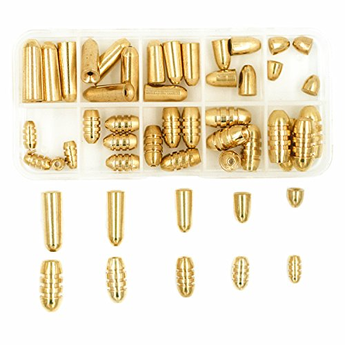 Mimilure Fishing Brass Bullet Sinkers Weights Kit for Texas Rig and Carolina Rig,50 Pcs/Box