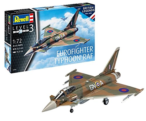 Revell Revell-03900 Scale British Legends: Eurofighter Typhoon RAF Royal Air Force, Kit de Modelo, Escala 1: 72, Multicolor (03900, 3900)